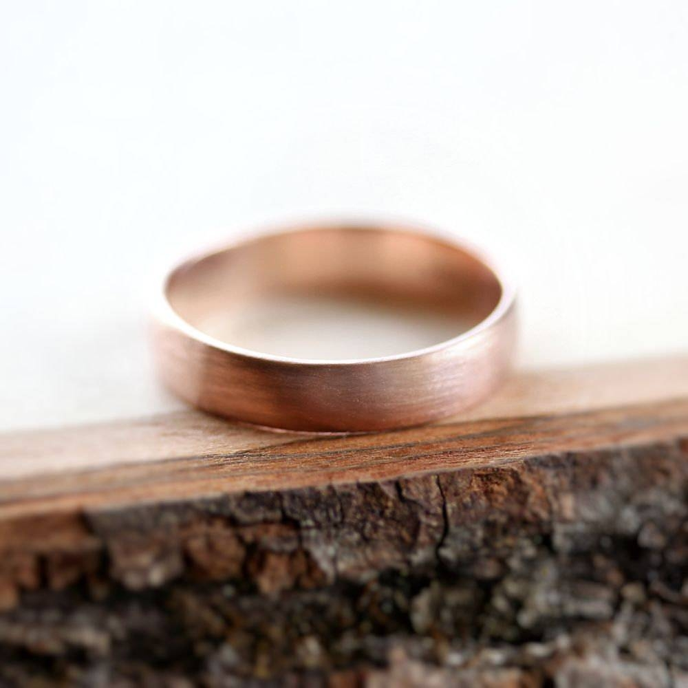 Rose Gold Men's Wedding Band Brushed (View 9 of 15)