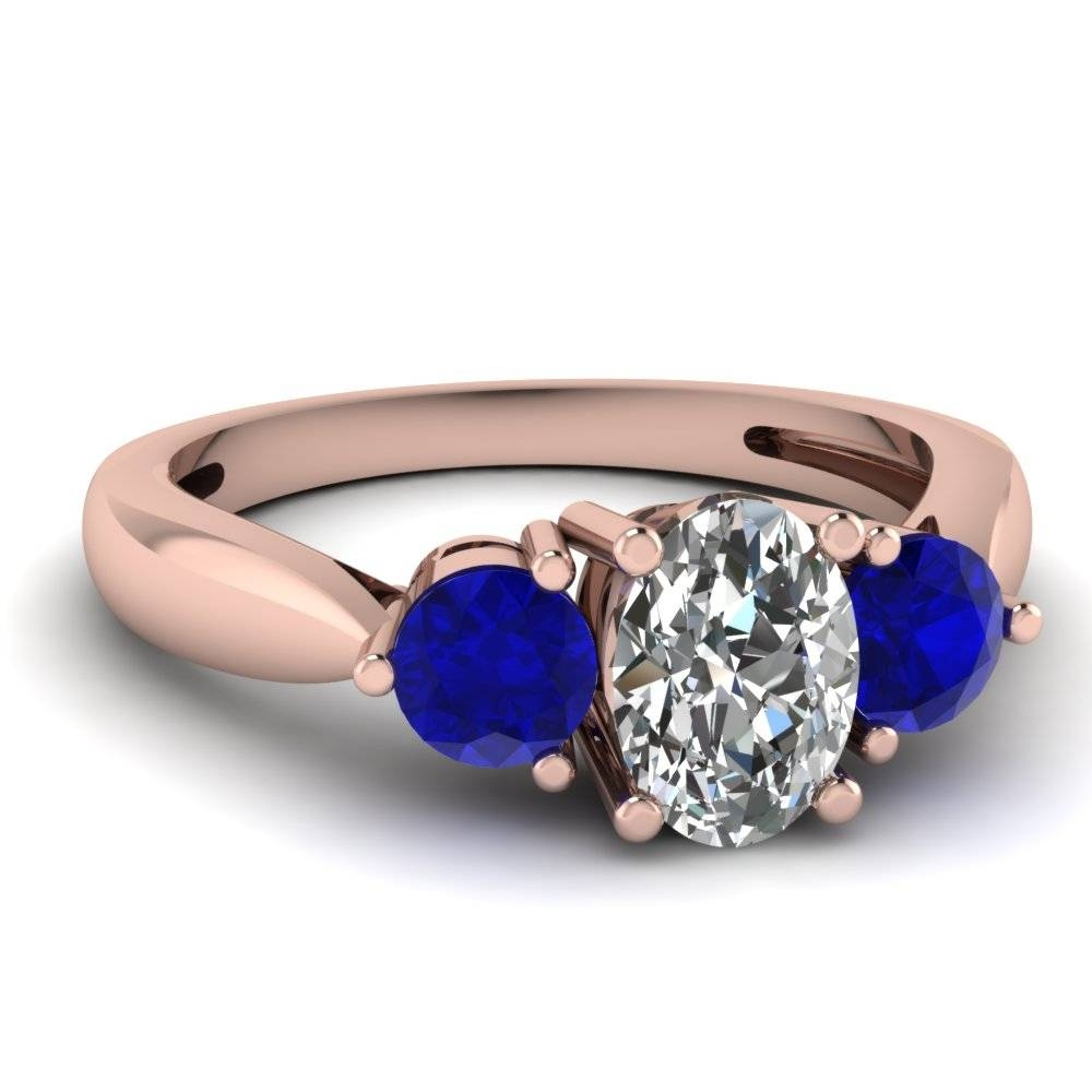 Rose Gold Oval White Diamond Engagement Wedding Ring Blue Sapphire Pertaining To Wedding Rings With Diamonds And Sapphires (View 12 of 15)