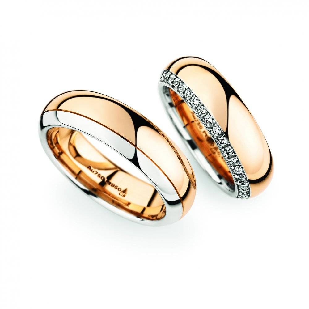 Rose Gold & Platinum Wedding Ring Pair – Christian Bauer – Birmingham Inside Platinum And Gold Wedding Rings (View 14 of 15)