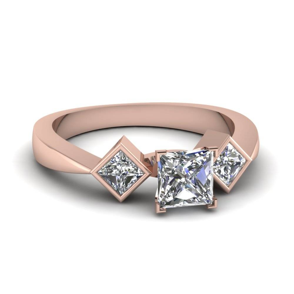 Rose Gold Princess White Diamond Engagement Wedding Ring In Bezel Pertaining To Asscher Cut Wedding Rings (View 8 of 15)