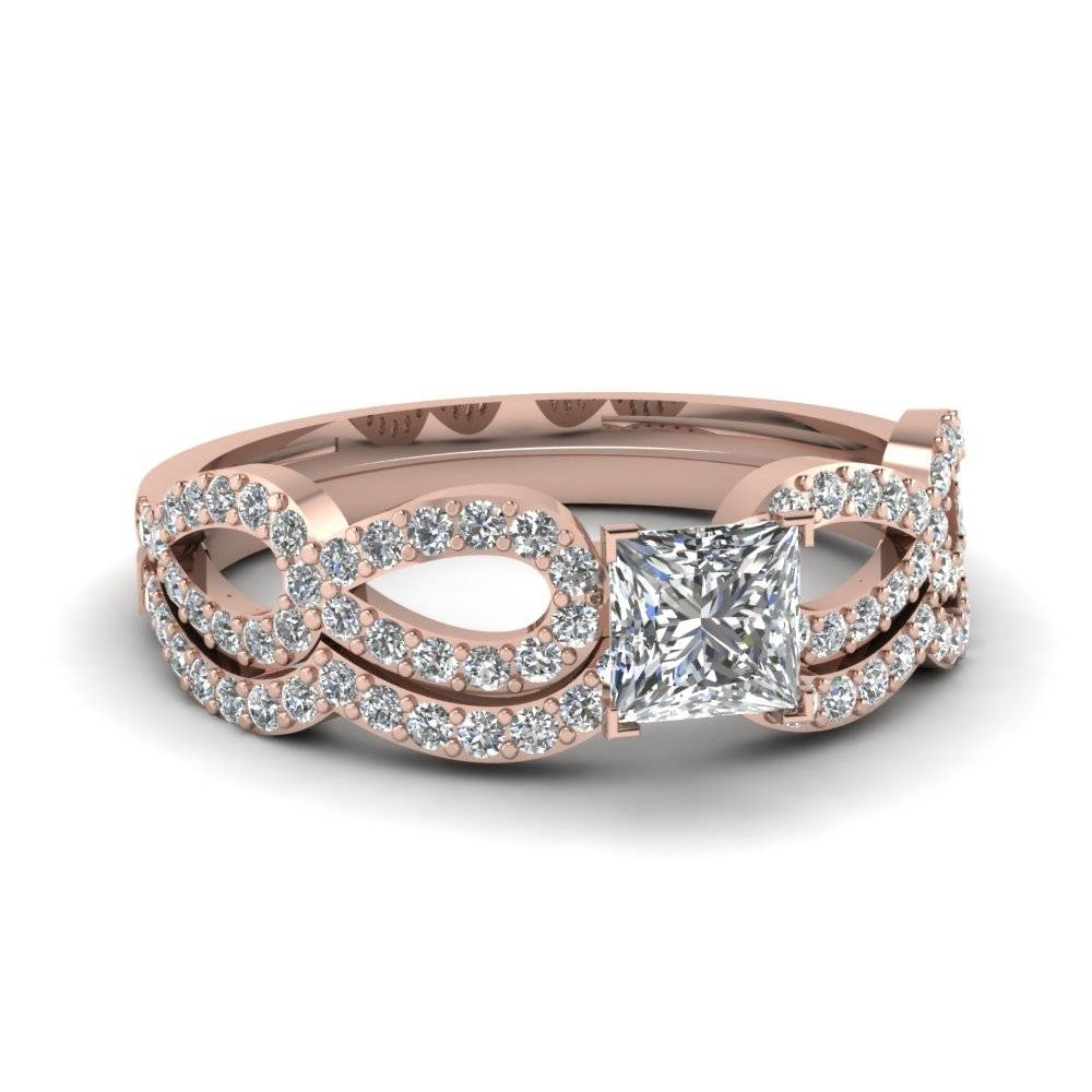 Rose Gold Princess White Diamond Engagement Wedding Ring In Prong Regarding Princess Cut Diamond Wedding Rings Sets (View 11 of 15)