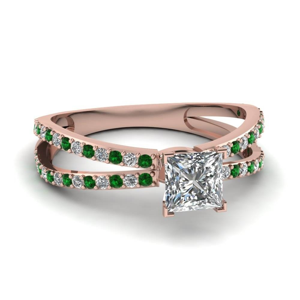 Rose Gold Princess White Diamond Engagement Wedding Ring With For Princess Cut Emerald Engagement Rings (View 13 of 15)