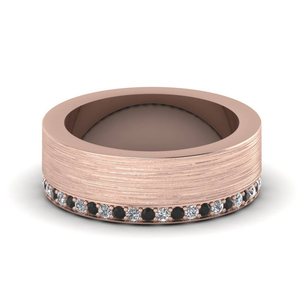 Rose Gold Round Black Diamond Mens Wedding Band With White Diamond Throughout Rose Gold Wedding Bands For Men (View 13 of 15)