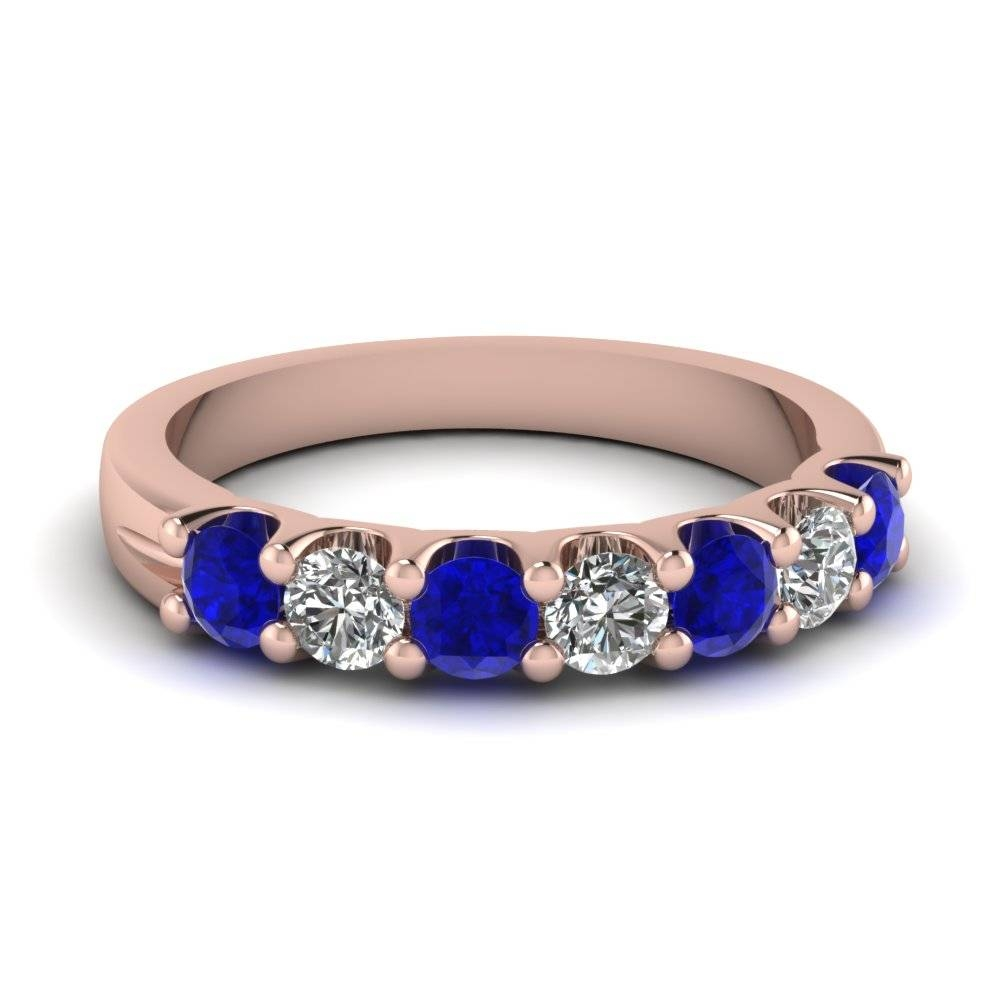 Rose Gold Round Blue Sapphire Wedding Band With White Diamond In With Regard To Blue Sapphire And Diamond Wedding Bands (View 8 of 15)