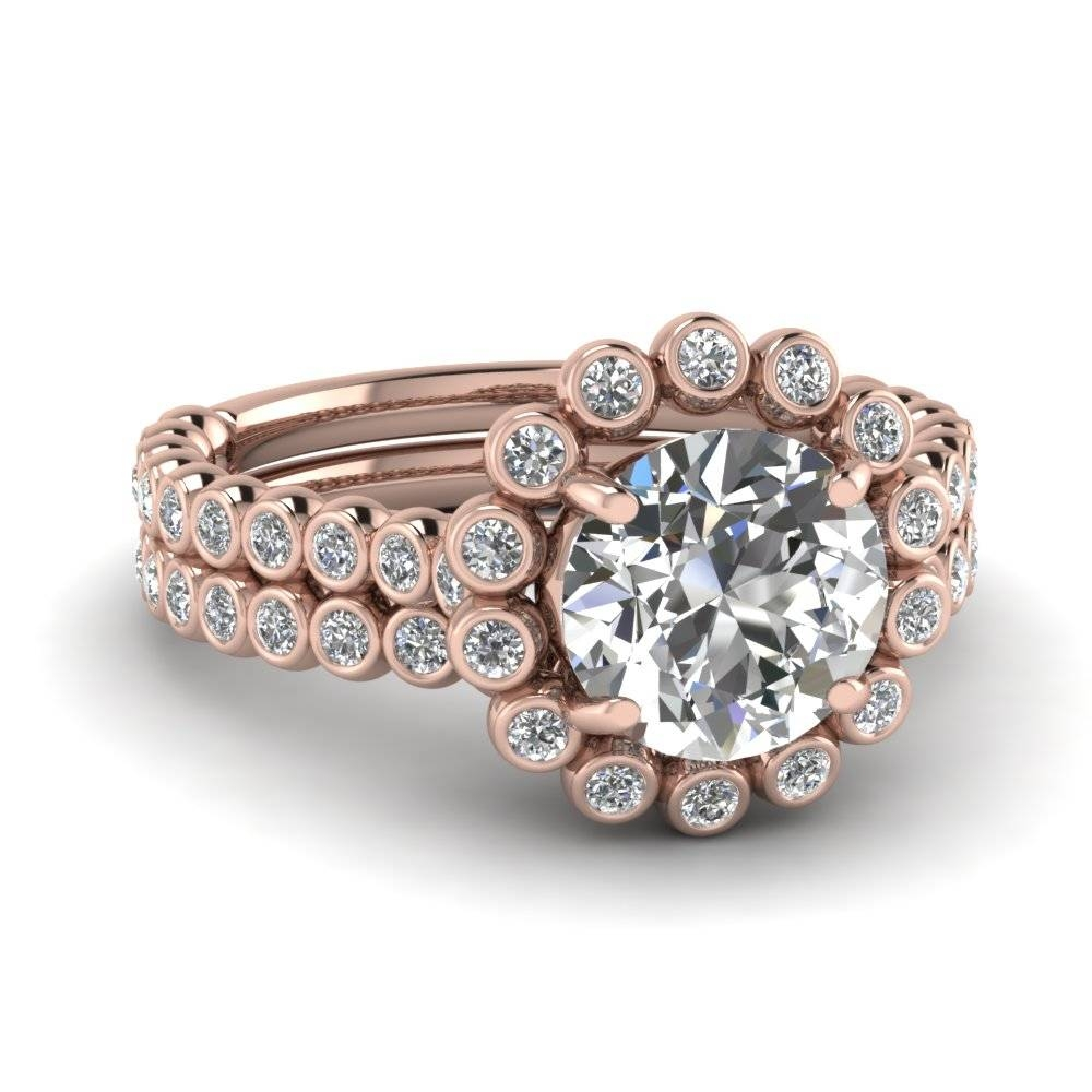 Rose Gold Round White Diamond Engagement Wedding Ring In Bezel Set Inside Engagement Wedding Rings Sets (View 12 of 15)
