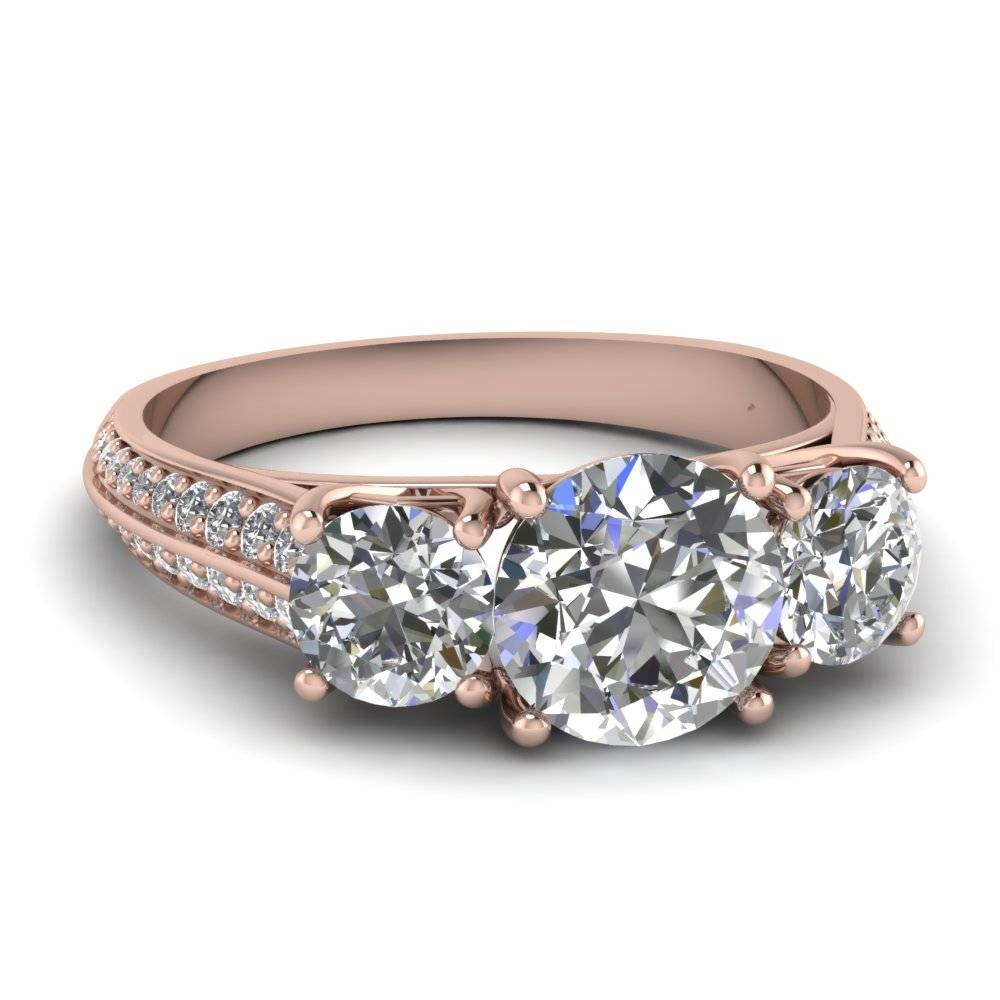 Rose Gold Round White Diamond Engagement Wedding Ring In Pave For Trinity Diamond Engagement Rings (View 9 of 15)
