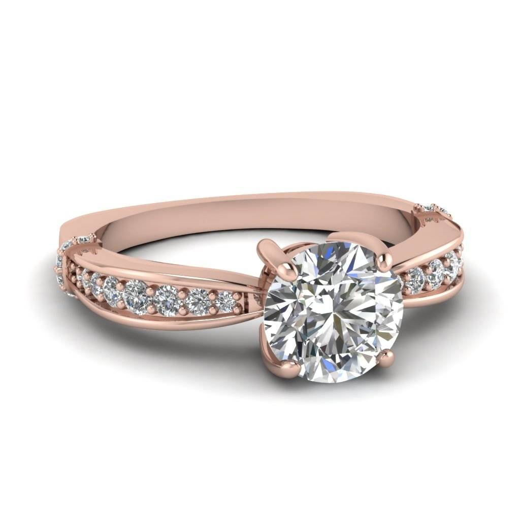 Rose Gold Round White Diamond Engagement Wedding Ring In Pave Set For Rose Gold Wedding Bands Sets (View 10 of 15)