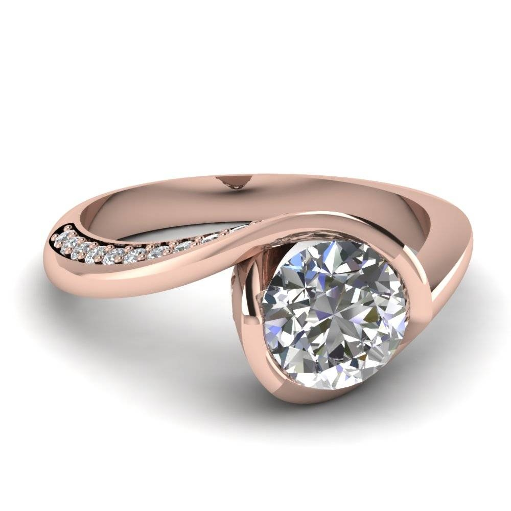 Rose Gold Round White Diamond Engagement Wedding Ring In Pave Set Pertaining To Bezel Wedding Rings (View 12 of 15)