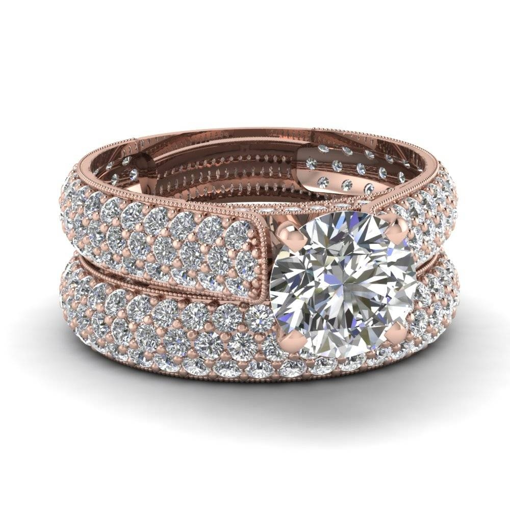 Rose Gold Round White Diamond Engagement Wedding Ring In Pave Set With Regard To Diamond Engagement And Wedding Rings Sets (View 12 of 15)