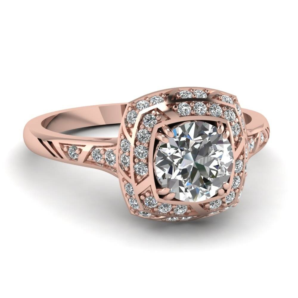 Rose Gold Round White Diamond Engagement Wedding Ring In Pave Set With Rose And White Gold Wedding Rings (View 1 of 15)