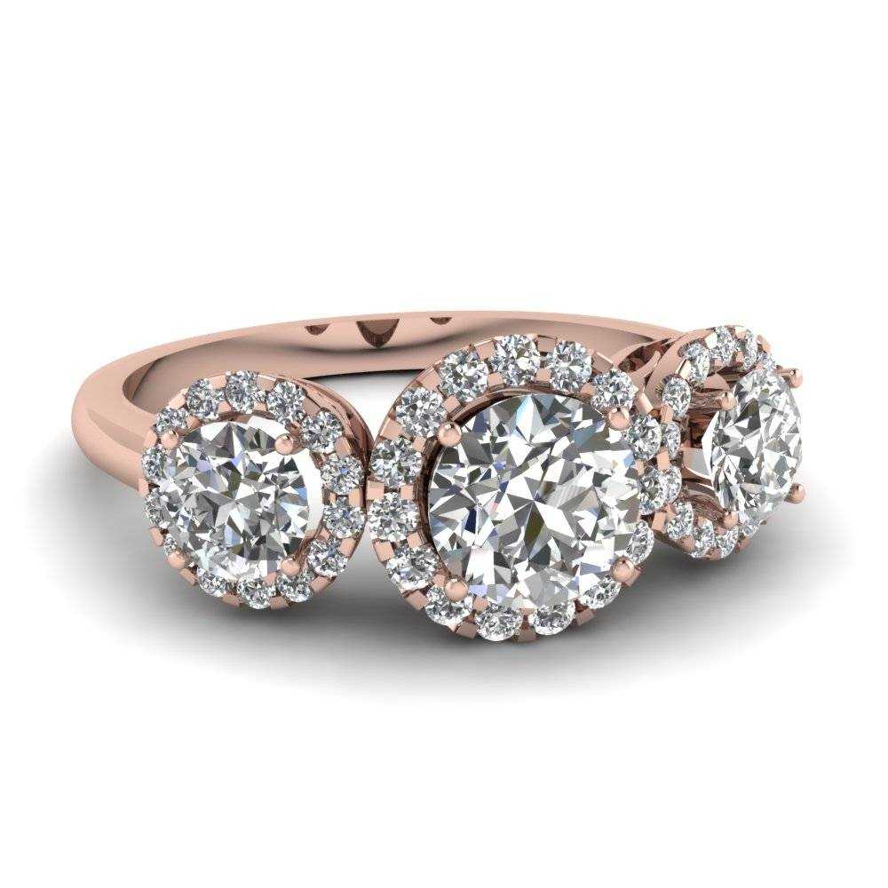 Rose Gold Round White Diamond Engagement Wedding Ring In Prong Set Inside Three Gold Wedding Rings (View 13 of 15)