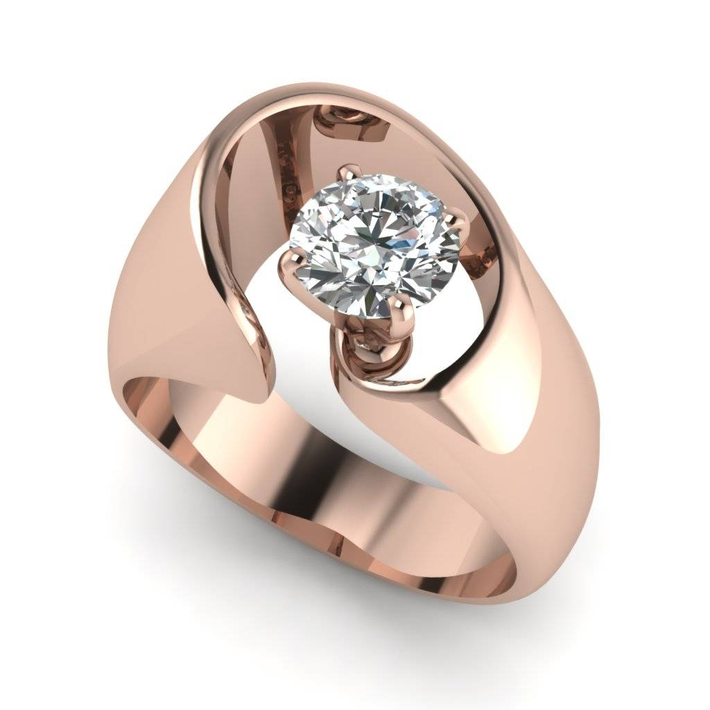 Rose Gold Round White Diamond Engagement Wedding Ring In Prong Set Intended For Contemporary Wedding Rings (View 5 of 15)