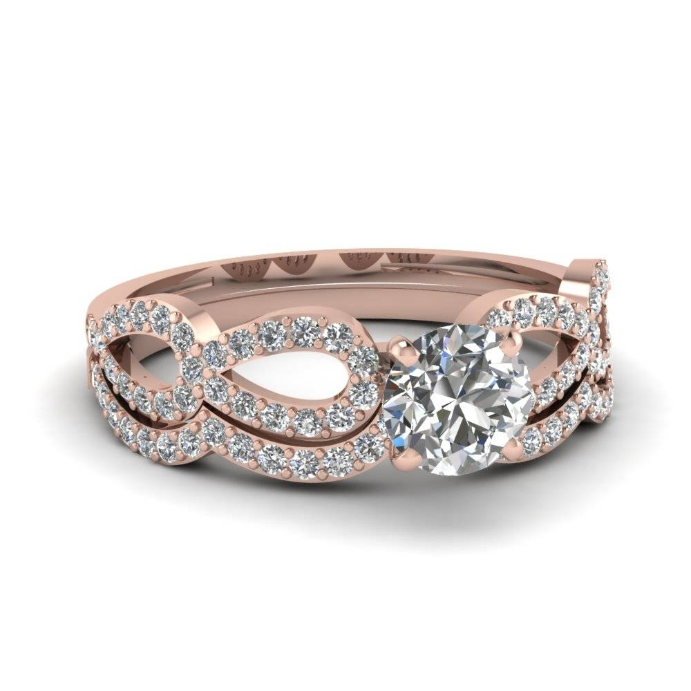 Rose Gold Round White Diamond Engagement Wedding Ring In Prong Set With Diamond Engagement And Wedding Rings Sets (Gallery 3 of 15)