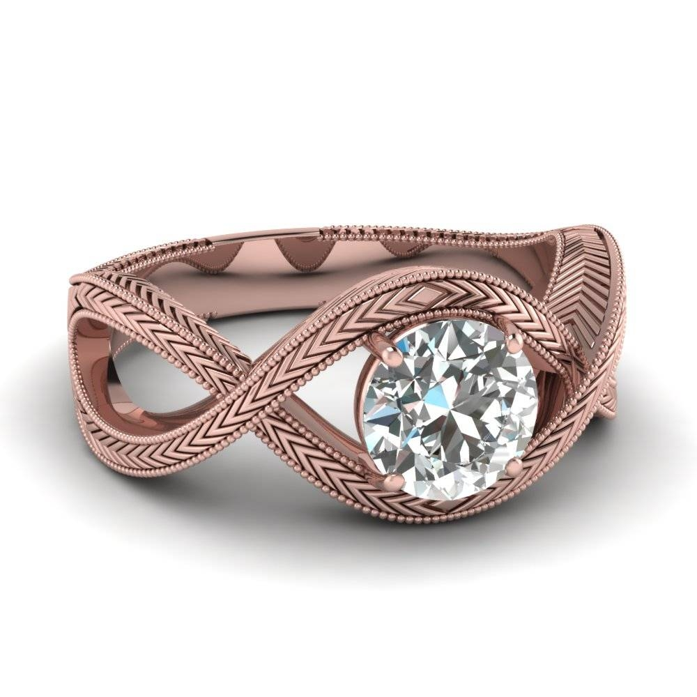 Rose Gold Round White Diamond Engagement Wedding Ring In Prong Set With Regard To Gold Rose Wedding Rings (View 13 of 15)