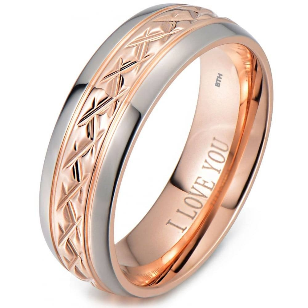 Rose Gold Tone Titanium Wedding Ring Engraved Inside With I Love You Intended For Engravable Titanium Wedding Bands (View 9 of 15)