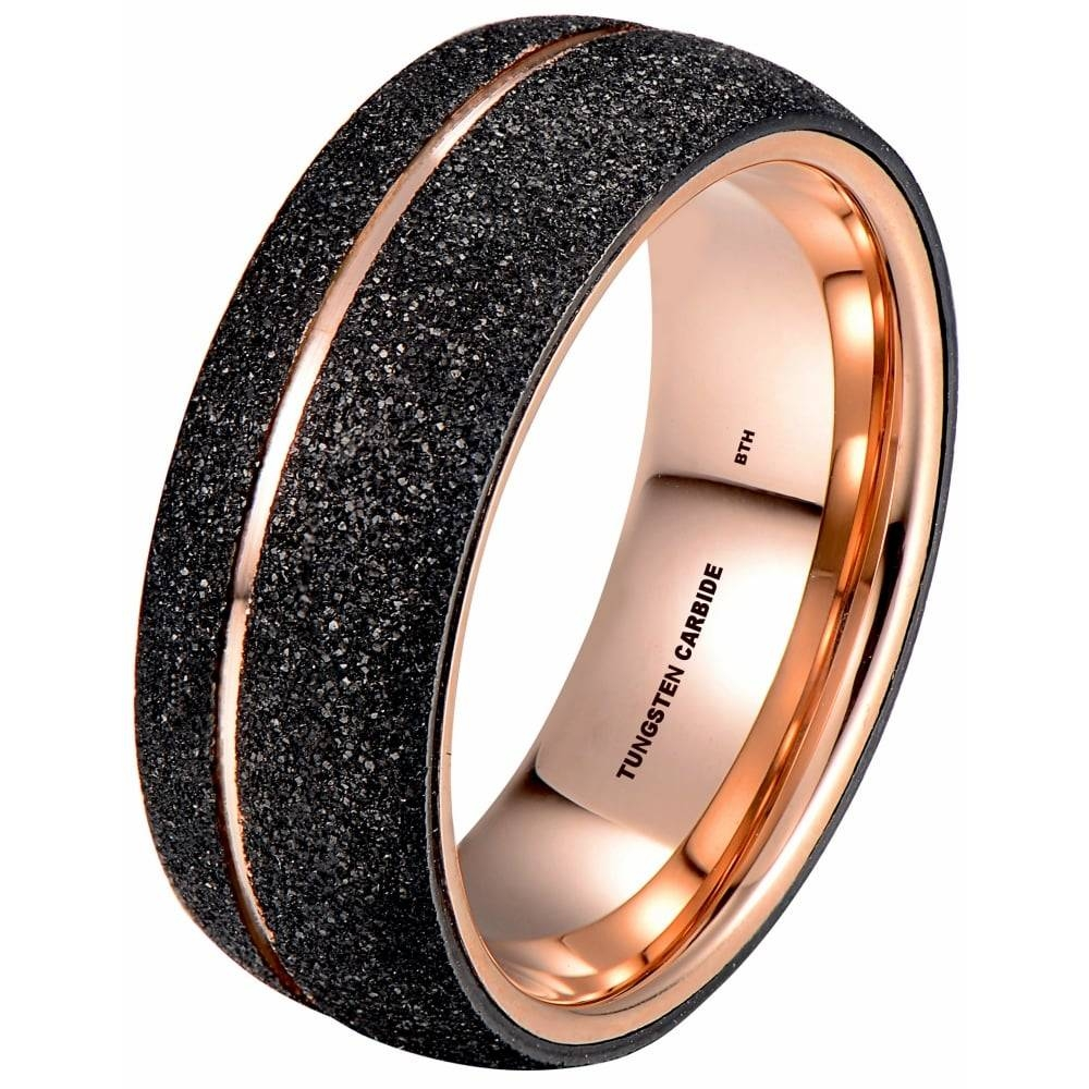 Rose Gold Tone Tungsten Ring With Black Sandblasted Crystalline Finish With Tungsten And Rose Gold Wedding Bands (View 10 of 15)