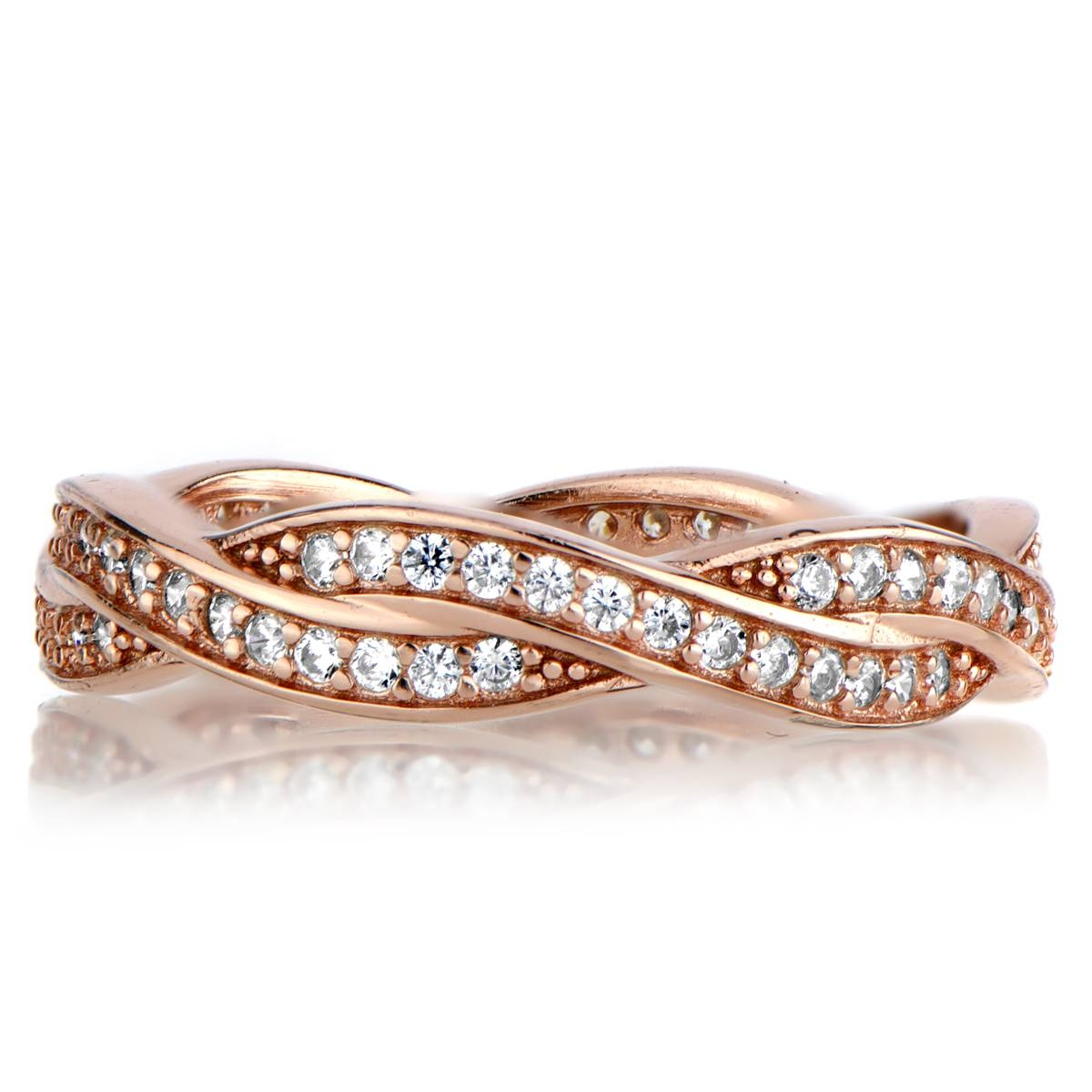 Rose Gold Twisted Cz Wedding Ring Band Regarding Infinity Twist Wedding Bands (View 13 of 15)