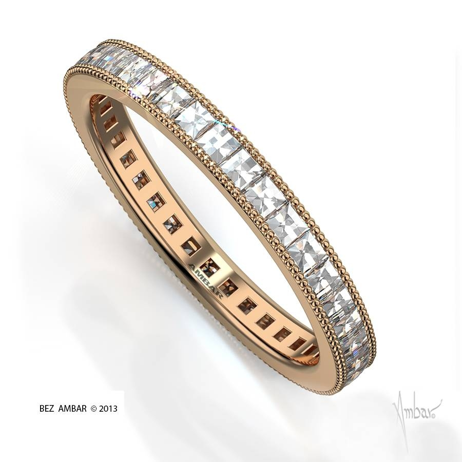 Rose Gold Wedding Bandbez Ambar In Wedding Bands With Diamonds All Around (View 12 of 15)