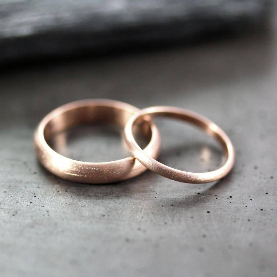 Rose Gold Wedding Set, Brushed Men's And Women's His And Hers 4Mm Pertaining To Couple Rose Gold Wedding Bands (View 13 of 15)