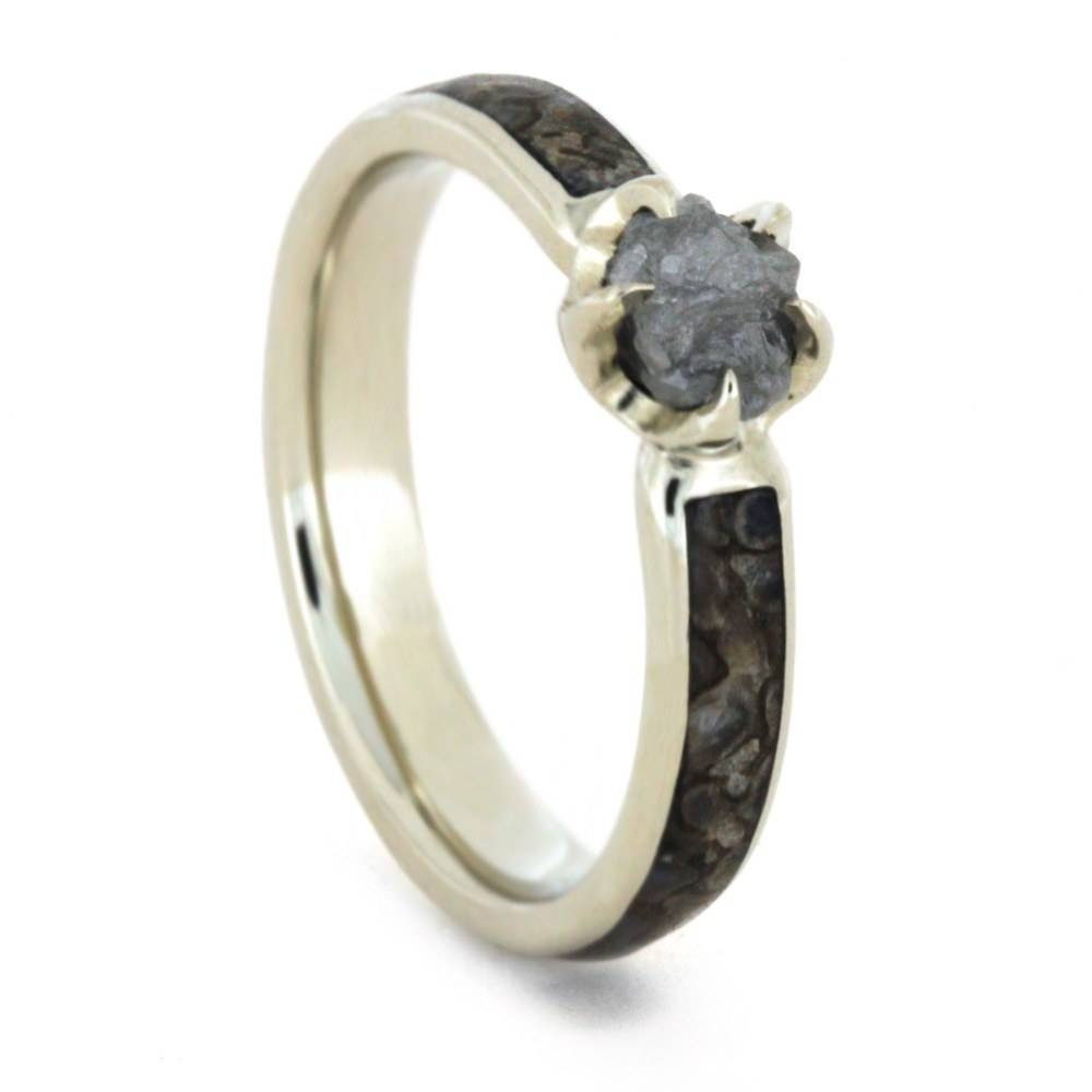 Rough Diamond Engagement Ring With Dinosaur Bone Within Dinosaur Bone Engagement Rings (View 1 of 15)