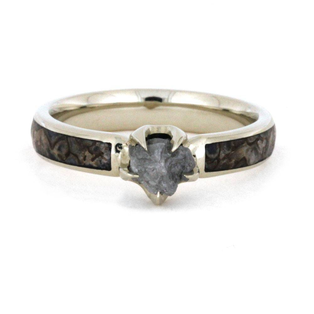 Rough Diamond Engagement Ring With Genuine Dinosaur Bone Inlay Within Dinosaur Engagement Rings (View 13 of 15)