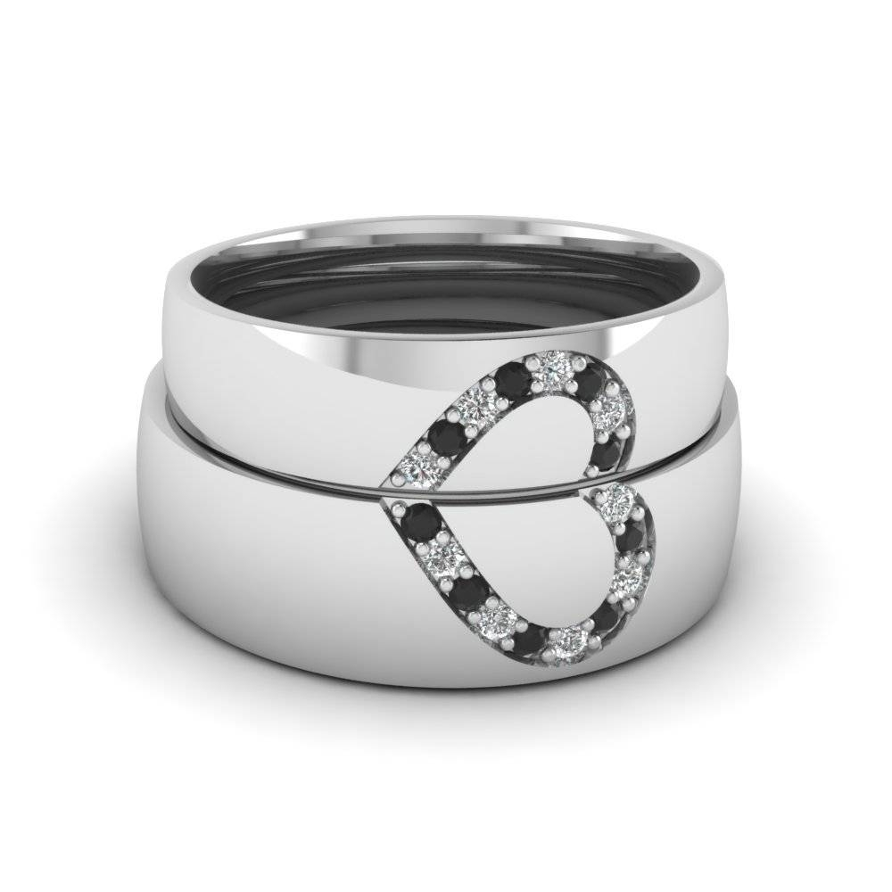 Round Black Diamond Wedding Band With White Diamond In 18K White For Platinum Wedding Bands For Her (View 14 of 15)