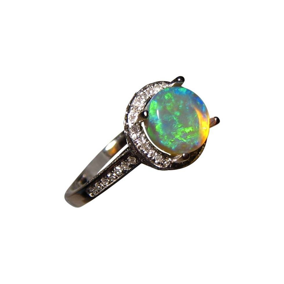 Round Blue Opal Diamond Ring 14K Gold | Flashopal With Regard To Blue Opal Wedding Rings (View 11 of 15)