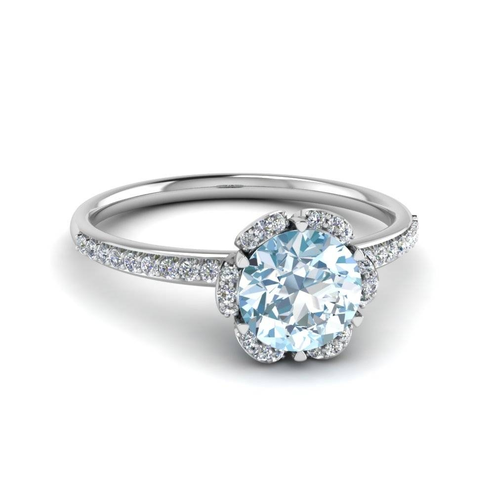 Round Cut Aquamarine Floral Side Stone Colored Engagement Ring In With Engagement Rings 18k White Gold (View 5 of 15)