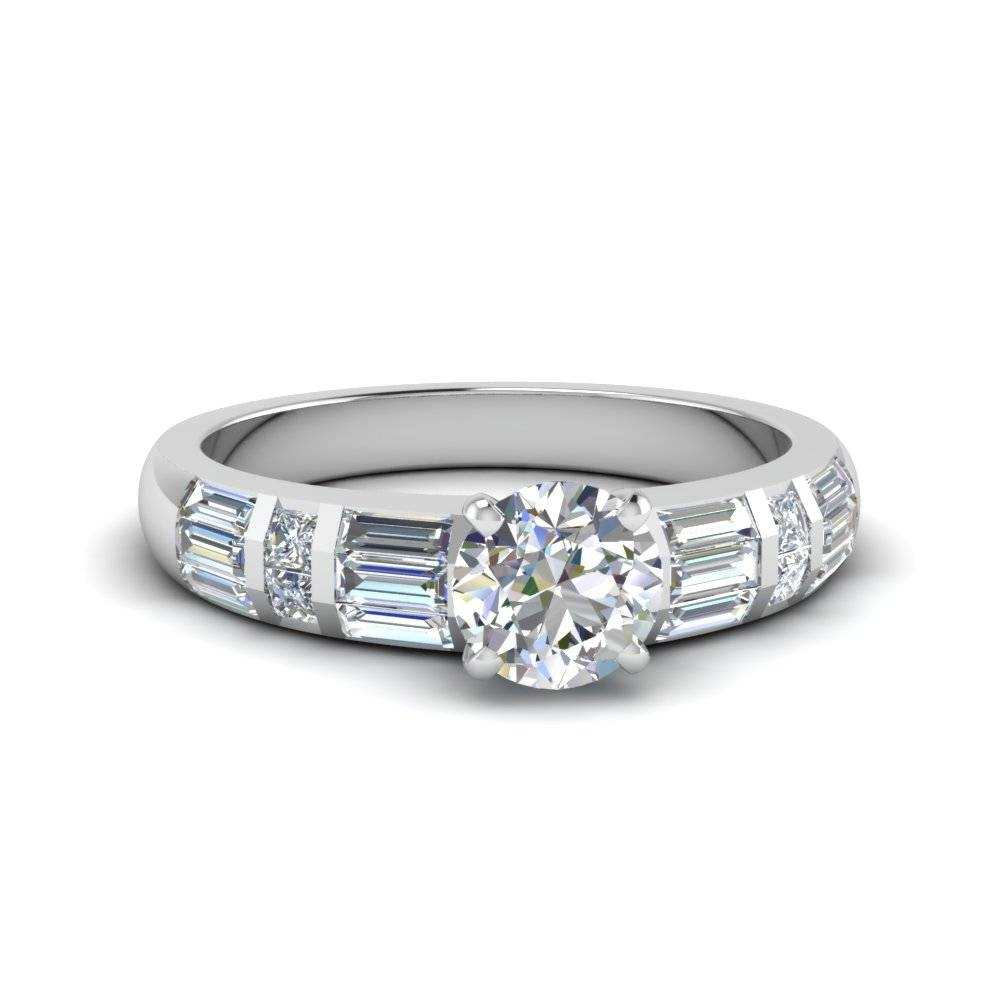 Round Cut Baguette And Princess Diamond Accent Engagement Ring In For Bling Wedding Rings (View 13 of 15)