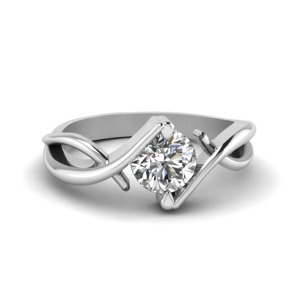 Round Cut Beautiful Twist Single Diamond Engagement Ring In 14K Intended For Diamond Solitaire Wedding Rings (View 12 of 15)