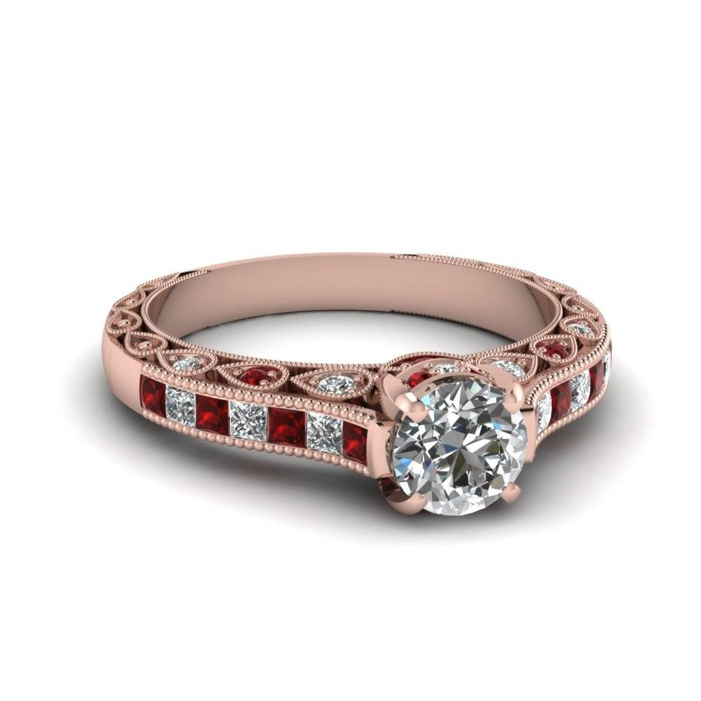 Round Cut Cathedral Setting Vintage Style Diamond Ring With Ruby Intended For Crown Style Engagement Rings (View 13 of 15)