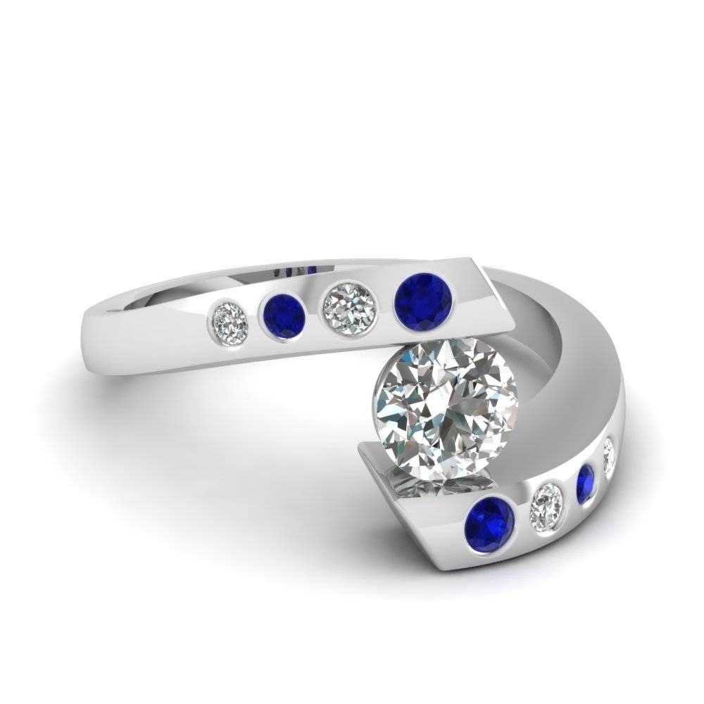 Round Cut Diamond Engagement Ring With Blue Sapphire In 14K White With Tension Set Engagement Rings With Wedding Bands (Gallery 2 of 15)