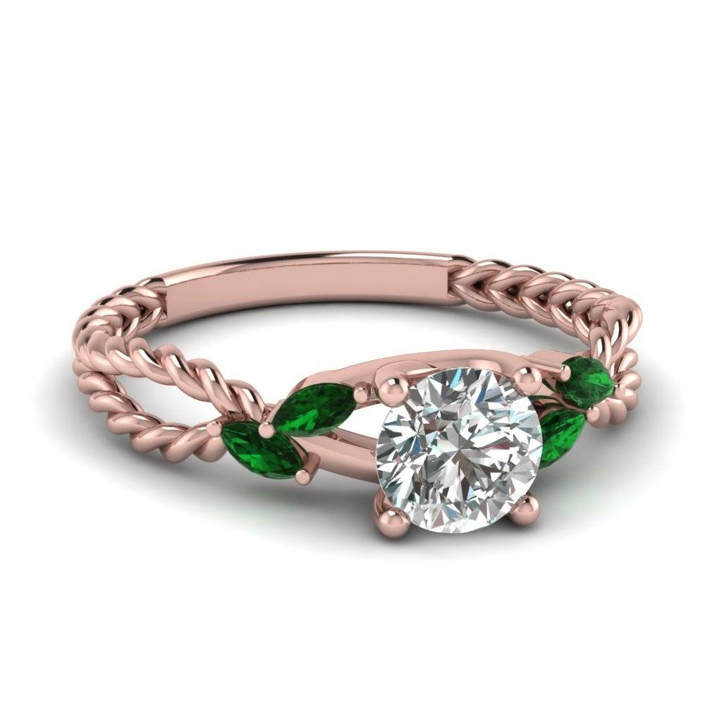 Round Cut Diamond Engagement Ring With Violac Topaz In 14K Rose With Regard To Engagement Rings Emeralds (View 11 of 15)