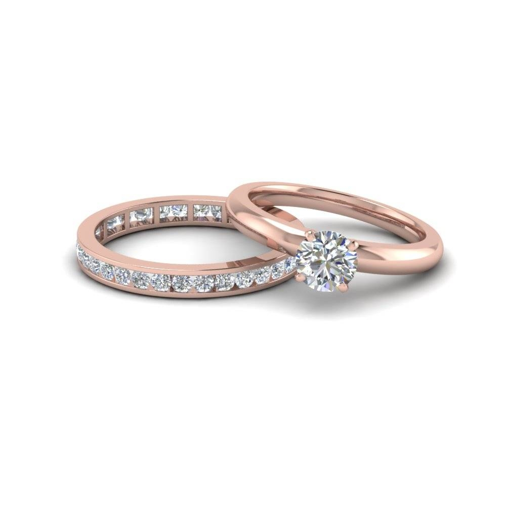 Round Cut Diamond Solitaire Ring With Eternity Band In 14k Rose Regarding Eternity Band Wedding Rings (View 3 of 15)