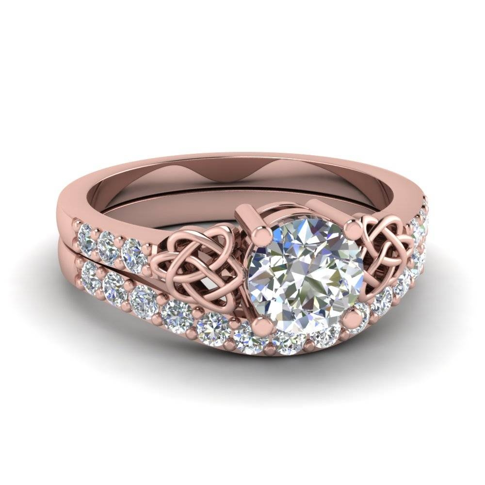 Round Cut Diamond Wedding Ring Set In 14k Rose Gold | Fascinating Pertaining To Rose Gold Wedding Bands Sets (View 14 of 15)