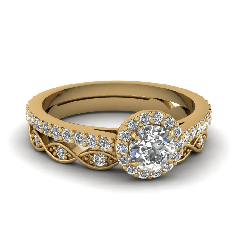 Round Cut Diamond Wedding Ring Sets In 14K Yellow Gold Inside Wedding And Engagement Ring Sets (View 5 of 15)