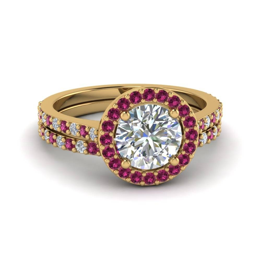 Round Cut Double Band Halo Diamond Wedding Ring Sets With Pink With Regard To Halo Diamond Wedding Rings (Gallery 13 of 15)