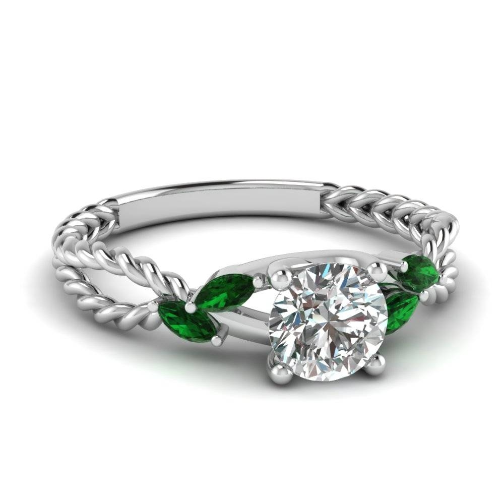 Round Cut Green Emerald Engagement Rings | Fascinating Diamonds Intended For Emerald Engagement Rings For Women (Gallery 4 of 15)