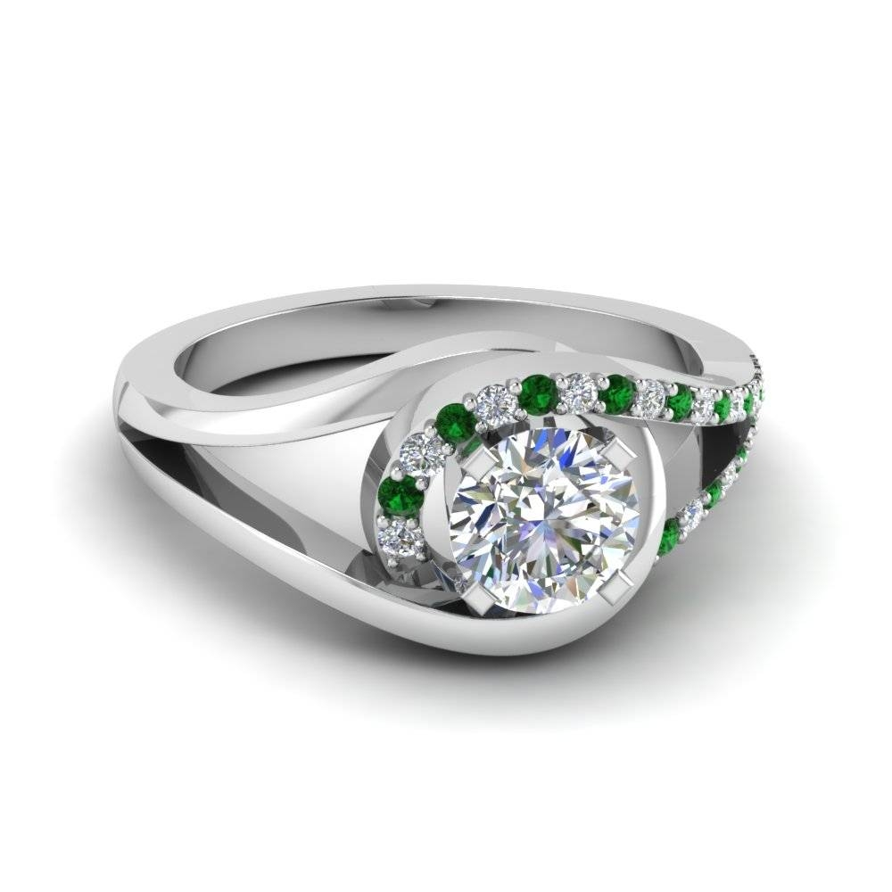 Round Cut Green Emerald Engagement Rings | Fascinating Diamonds Regarding Emerald Wedding Rings For Women (View 10 of 15)