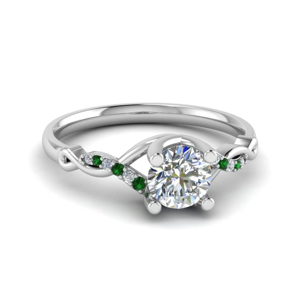 Round Cut Green Emerald Engagement Rings | Fascinating Diamonds Regarding Emrald Engagement Rings (View 10 of 15)