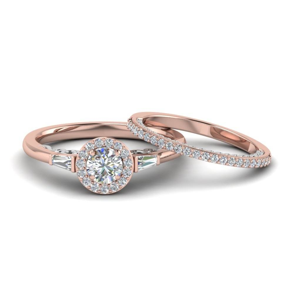 Round Cut Halo Diamond 2 Tone Bridal Set With Baguette In 14K Rose In Matching Wedding And Engagement Ring Sets (View 10 of 15)