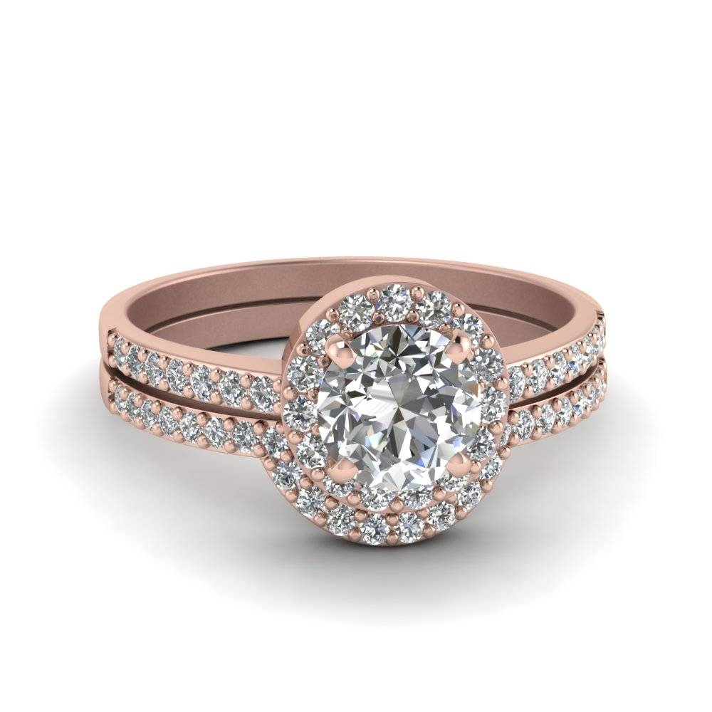 Round Cut Halo Diamond Ring Thin Band In 18K Rose Gold Pertaining To Halo Diamond Wedding Rings (View 13 of 15)