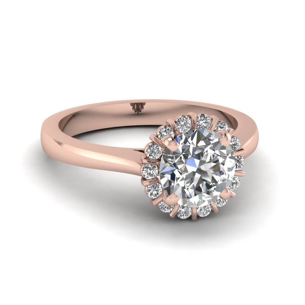 Round Cut Nature Inspired Floral Halo Diamond Engagement Ring In Throughout Halo Diamond Wedding Rings (Gallery 3 of 15)