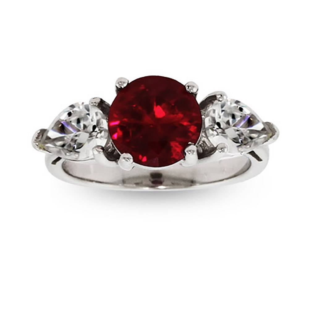 Round Cut Ruby Cz Engagement Ring | Eve's Addiction® Inside Tree Of Life Engagement Rings (View 14 of 15)