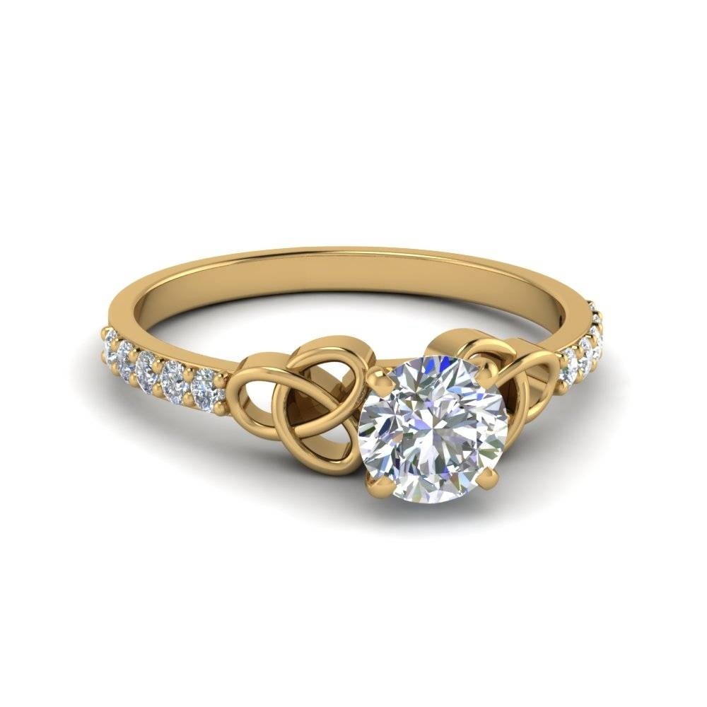 Round Cut Simple Celtic Knot Diamond Hand Made Ring For Women In Within Celtic Engagement Rings (Gallery 15 of 15)