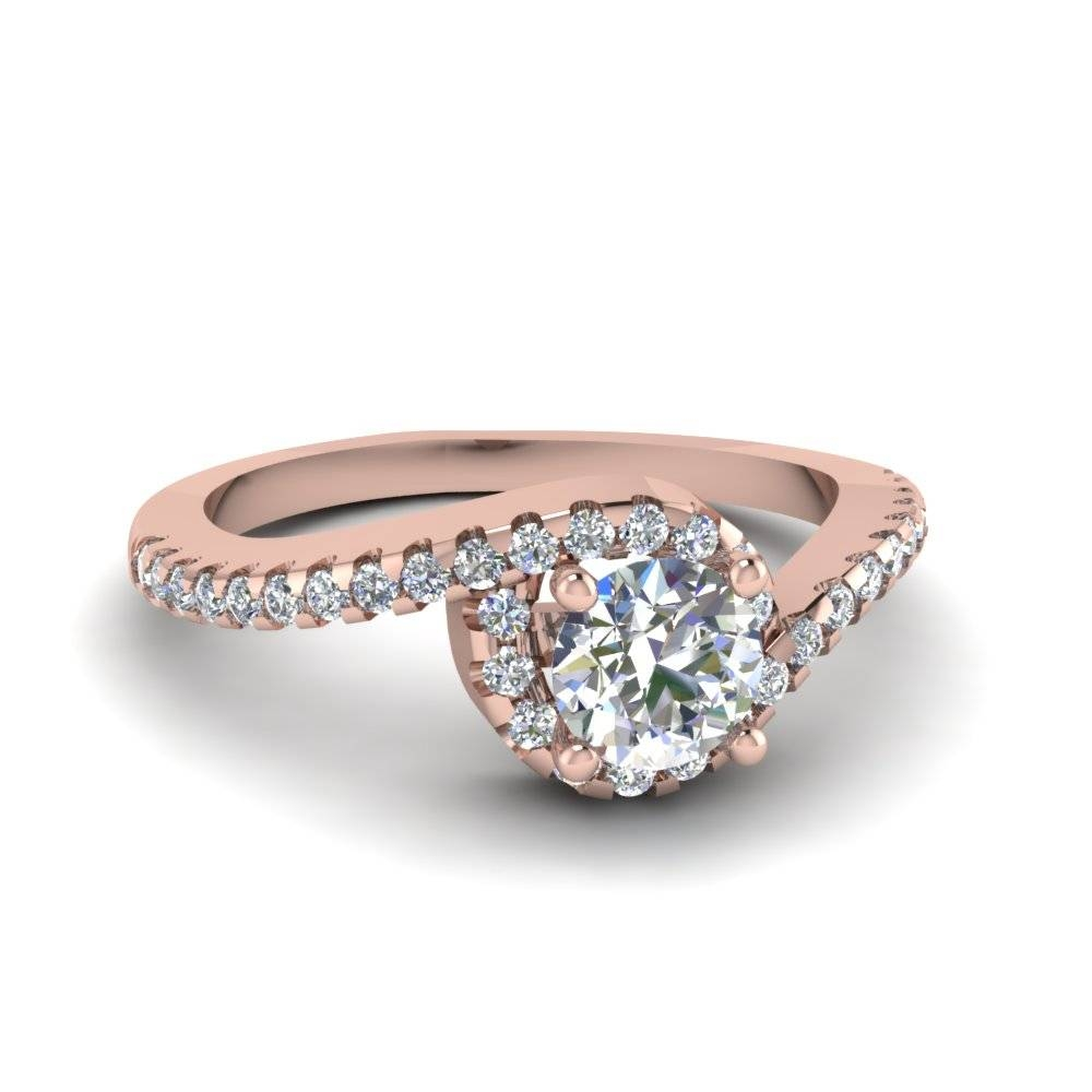 Round Cut Swirl Halo Diamond Engagement Ring In 14k Rose Gold Pertaining To Spiral Engagement Rings (View 8 of 15)