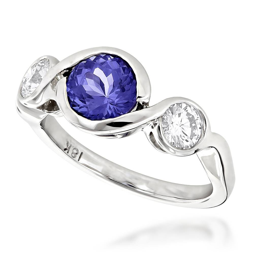 Round Cut Tanzanite And Diamond Engagement Ring 18K White Gold Regarding Engagement Rings Tanzanite (View 12 of 15)