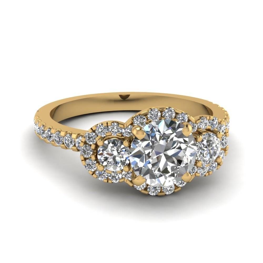 Round Cut Three Stone Halo Diamond Side Stone Engagement Ring In Throughout Engagement Rings With Yellow Stone (Gallery 1 of 15)