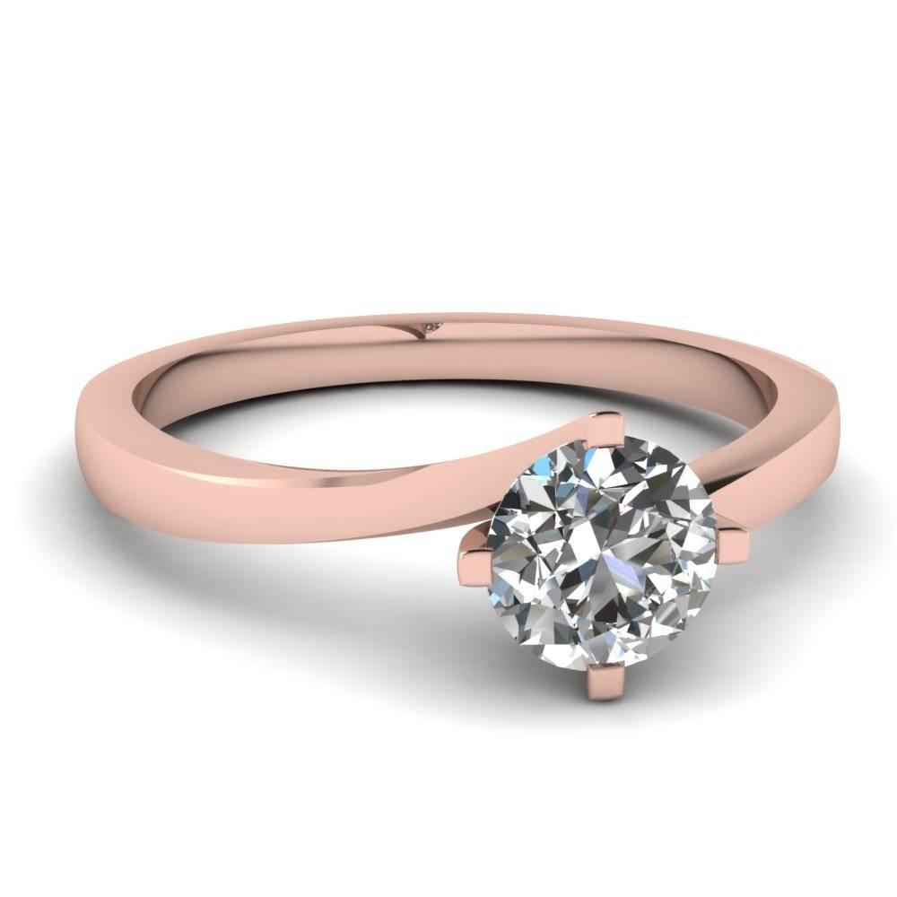 Round Cut Twisted Solitaire Diamond Ring In 14K Rose Gold For 18K Gold Wedding Rings (View 13 of 15)