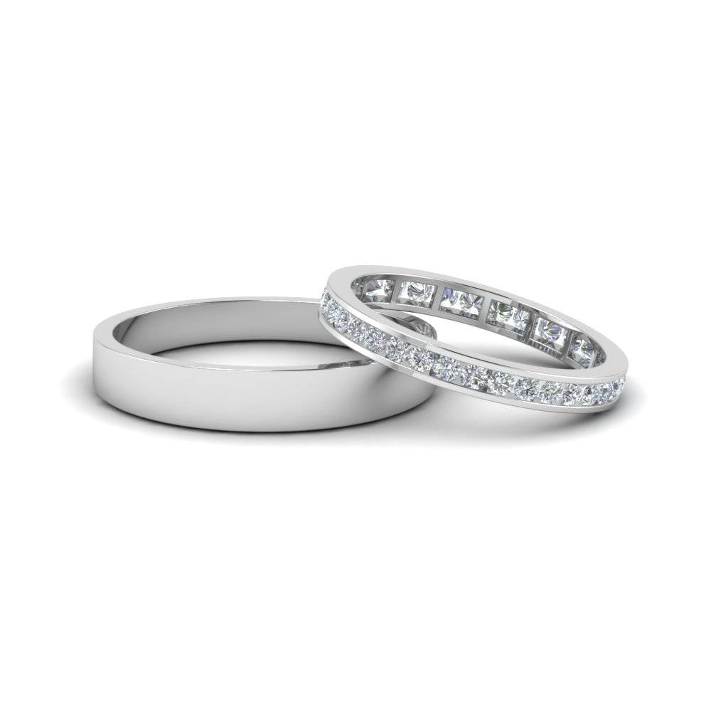 Round Diamond Eternity Anniversary Matching Ring With Plain Band Within Matching Engagement Rings For Him And Her (Gallery 3 of 15)